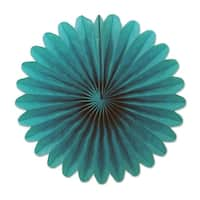 """Club Pack of 72 Festive Turquoise Mini Tissue Paper Fan Hanging Party Decorations 6"""""""