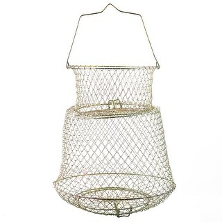 "Unique Bargains 17.5"" x 10.2"" Collapsible Spring Design Fishing Landing Net Fish Basket Cage for Fishermen"