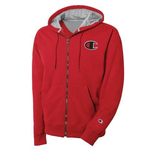 Champion Mens Zip Hoodie Sweatshirt, Red, XX-Large