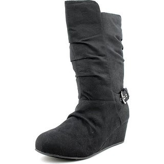Olive & Edie Cora Youth Round Toe Synthetic Black Mid Calf Boot