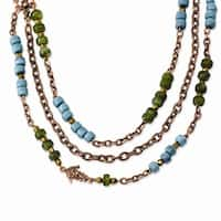 Copper Green, Teal & Brown Acrylic Beads Necklace - 42in