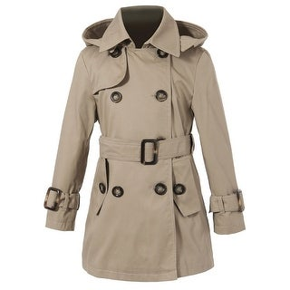 Richie House Little Girls Classic Beige Hooded Double Breasted Trench Coat 4-6