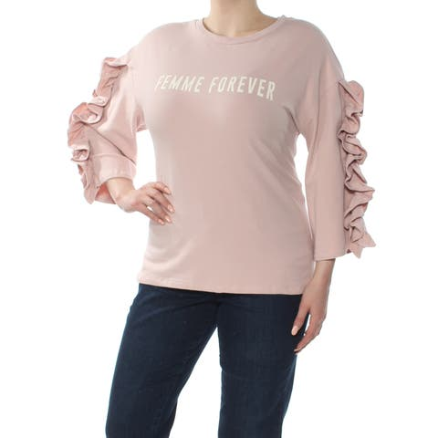 POLLY & ESTHER Womens Pink Ruffle Sleeve Graphic Sweatshirt Crew Neck Top Size: XL