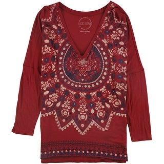 Link to Lucky Brand Womens Long Sleeve Graphic T-Shirt, red, Small Similar Items in Tops