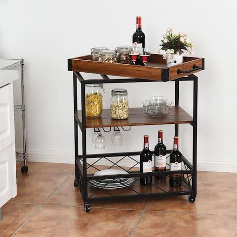 3-Tier Rolling Kitchen Cart Serving Island with Storage Shelf & Wheels