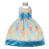Baby Girls Turquoise Sash Multi Colored Easter Special Occasion Dress 6-24M
