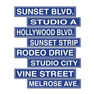 "Club Pack of 48 Blue Hollywood Street Sign Cutouts 4"" x 24"""