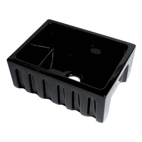 "ALFI brand AB2418HS-BG 24"" Modern Reversible Smooth / Fluted Single Bowl Rectangular Fireclay Farm Sink - Black Gloss"