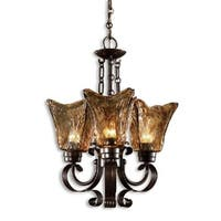 """20"""" Hand-Made Rustic Gold Glass & European Iron Works 3-Light Hanging Chandelier"""