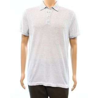 Calvin Klein NEW White Mens Size Large L Striped Polo Cotton Shirt