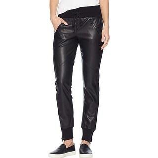 Blanc Noir Women's Faux Leather Front Jogger, Black, Medium 29