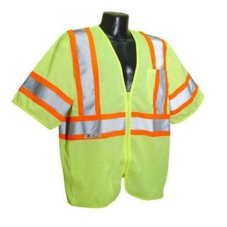 Radians SV22-3ZGM-L Class 3 Economy Mesh Safety Vest With Zipper, Large, Green
