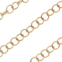 Matte Gold Plated Cable Circle Chain 2.8mm - Bulk By The Foot