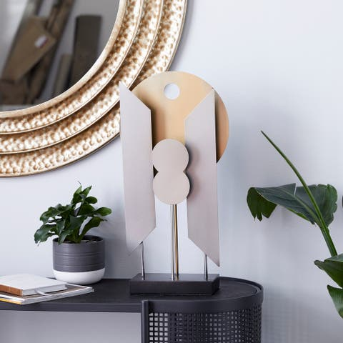 Gold Iron Contemporary Sculpture Abstract 21 x 12 x 4 - 12 x 4 x 21
