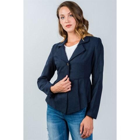 Ladies Fashion Navy Pleated Peplum Hem Jacket - Size - M