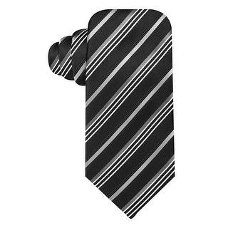 Geoffrey Beene Black Satin Stripe Silk Blend Tie Classic One Size Necktie