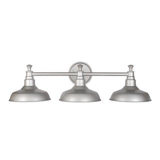 Design House 520312 Kimball Reversible 3 Light Dimmable Bathroom Vanity Light in Galvanized Finish