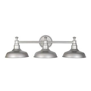 Design House 520312 Kimball Reversible 3 Light Dimmable Bathroom Vanity Light in Galvanized Finish