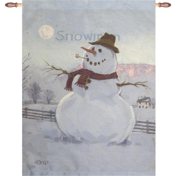 """White and Gray Winter Snowmen Designer Print Wall Hanging 26"""" x 36"""" - N/A"""