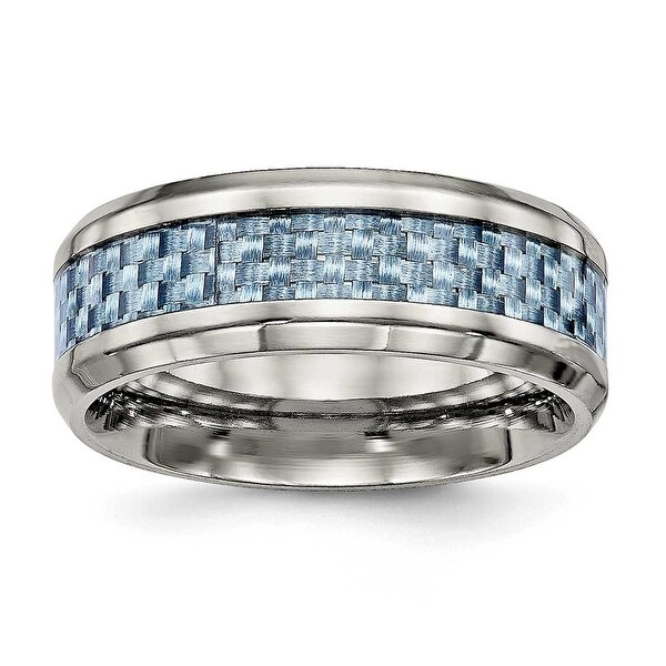 Titanium Polished Blue Carbon Fiber Inlay Ring (8 mm)
