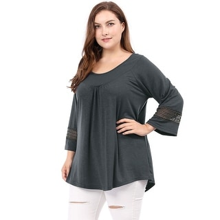 Link to Women Plus Size Crochet Panel Kimono Raglan Sleeves Ruched Front Top Similar Items in Loungewear