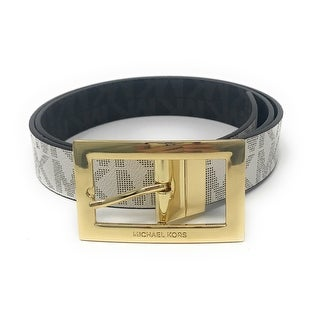 Michael Kors Women's Rectangle Buckle Reversible MK Logo Belt, Vanilla To Black 551814C