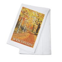 Wisconsin - Fall Colors Scene - LP Artwork (100% Cotton Towel Absorbent)