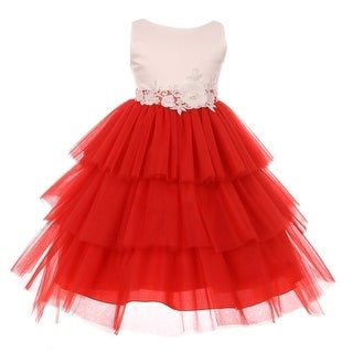Little Girls Red White Floral Adorned Tiered Stylish Flower Girl Dress