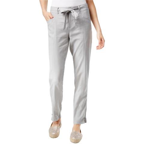 I-N-C Womens Tapered Casual Cargo Pants, Grey, 4 Regular