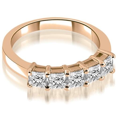 0.85 cttw. 14K Rose Gold Prong Set Princess Cut Diamond Wedding Band