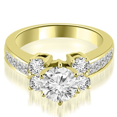 1.25 cttw. 14K Yellow Gold Channel Round Cut Diamond Engagement Ring