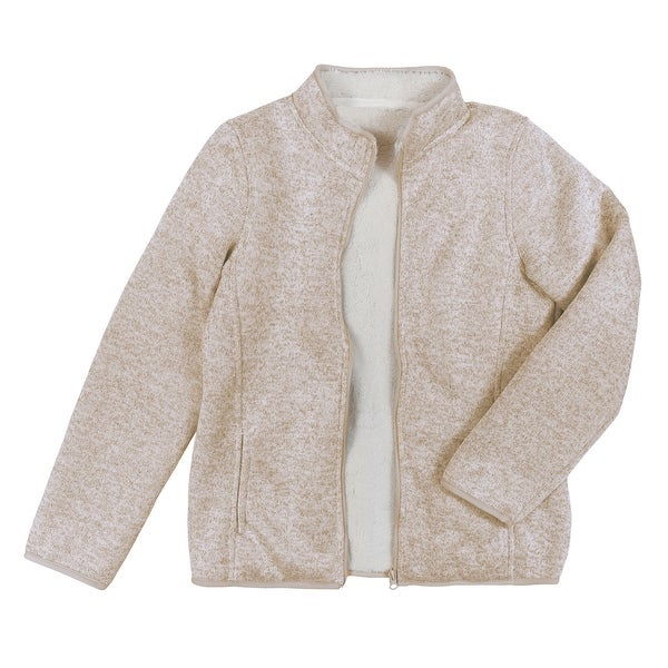 Victory Outfitters Women's Bonded Knit Sherpa Lined Zip Up Jacket. Opens flyout.
