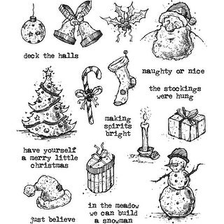"""Tim Holtz Cling Stamps 7""""X8.5""""-Tattered Christmas"""