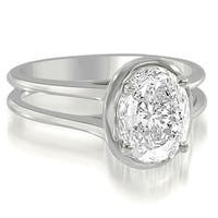 0.50 cttw. 14K White Gold Split Shank Halo Oval Cut Diamond Engagement Ring