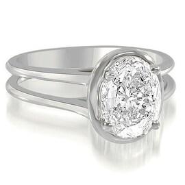 0.75 cttw. 14K White Gold Split Shank Halo Oval Cut Diamond Engagement Ring