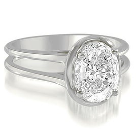 1.00 cttw. 14K White Gold Split Shank Halo Oval Cut Diamond Engagement Ring