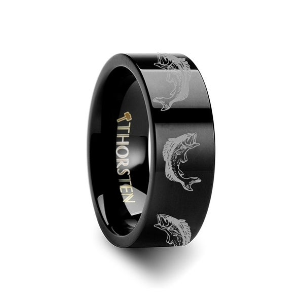 THORSTEN - Bass Fish Jumping Sea Print Pattern Ring Engraved Flat Black Tungsten Ring - 10mm