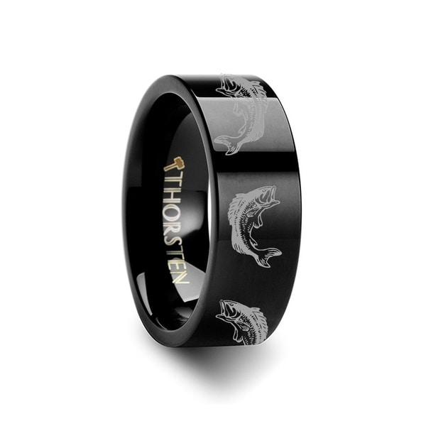 THORSTEN - Bass Fish Jumping Sea Print Pattern Ring Engraved Flat Black Tungsten Ring - 12mm