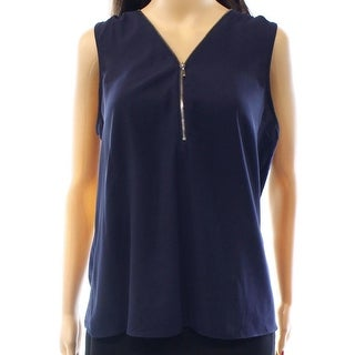 INC NEW Blue Womens Size Small S Zipper Neckline Pull-Over Tank Blouse