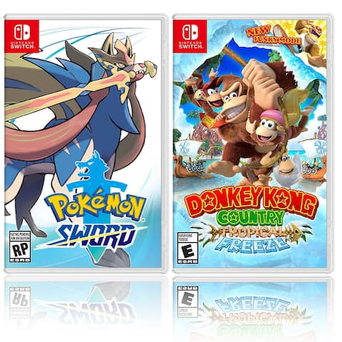 Nintendo Pokemon Sword Bundle with Donkey Kong Country: Tropical - Black