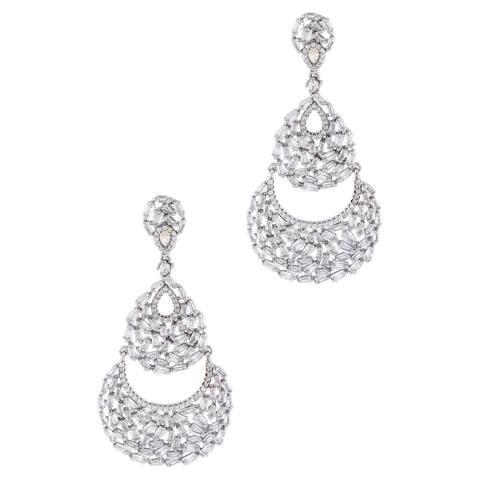 Baguette-Cut Cubic Zirconia Chandelier Earrings, Sterling Silver