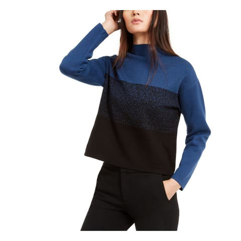 ANNE KLEIN Womens Blue Color Block Long Sleeve Mock Sweater Size XL