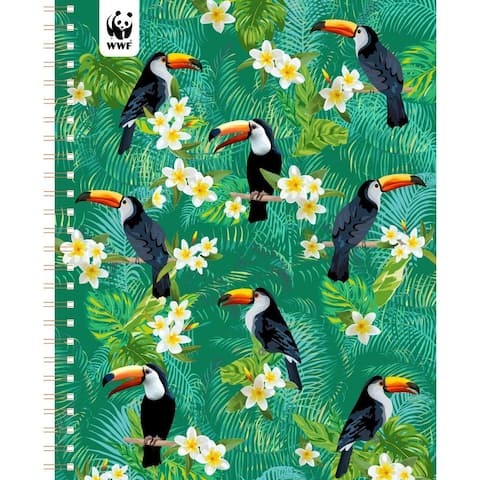 """WWF Toucans Monthly Planner 2020 January-December Personal Journal Organizer Scheduler 7.5"""" x 9.75"""" Spiral"""