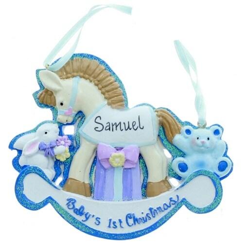 "Kurt Adler BABY'S 1ST CHRISTMAS"" ROCKING HORSE FOR BOYS ORNAMENT FOR PERSONALIZATION"