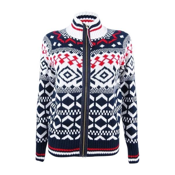 Shop Tommy Hilfiger Women s Patterned Zip-Up Sweater (XS 7b31f13f82