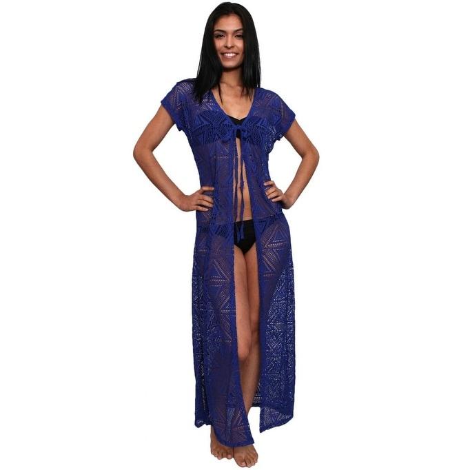 Women's Beach Dress Cover Up Open Front Long Pareo Swimwear Pool Summer - Thumbnail 6