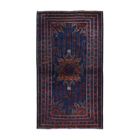 """Hand Knotted Blue Tribal & Geometric with Wool Oriental Rug (3'9"""" x 6'7"""") - 3'9"""" x 6'7"""""""