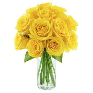 KaBloom - Farm-Fresh Rose Collectoin - 12 Yellow Roses with Vase