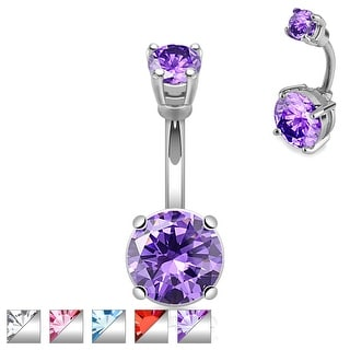 Big Round Gem Prong Set 316L Surgical Steel Navel Ring