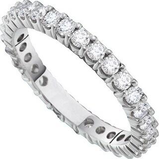 14k White Gold Womens Natural Round Diamond Pave Wedding Anniversary Band 2.00 Cttw